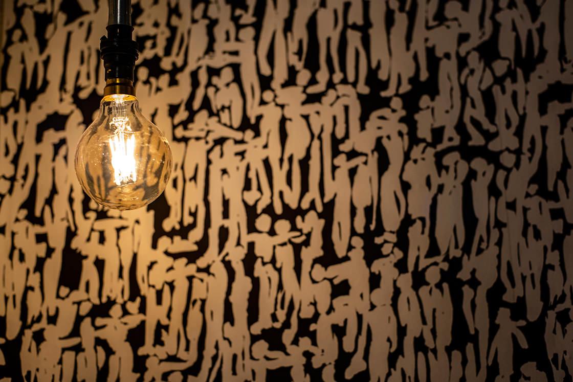 eco interior design wallpaper and vintage lights